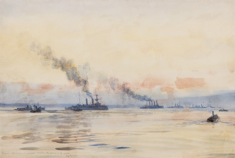 Foreign warships at Spithead awaiting the passing of the Queen