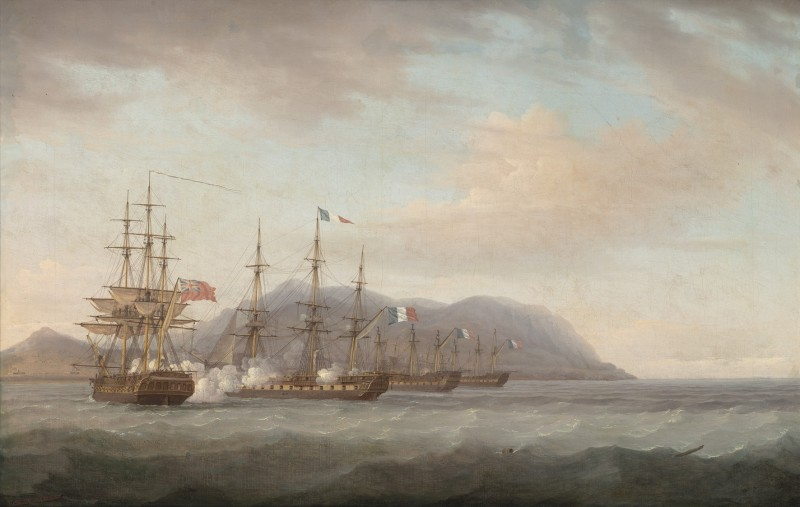 A British frigate engaging a French frigate protecting two other frigates laid up off a West Indian island