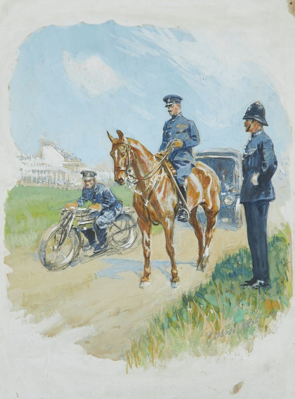 A police patrol with grandstand in the distance