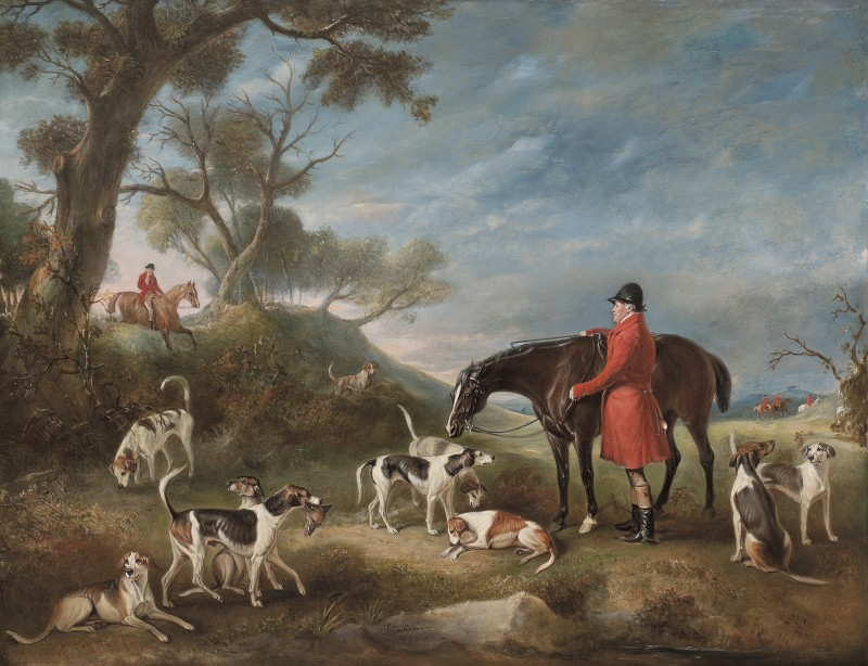 The Burton Hunt, M.F.H. Sir Richard Sutton with Hunstmen Banks, Wright and the Hound Comus