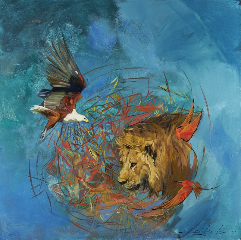 Lion, Carmine Bee-eaters and Fish Eagle
