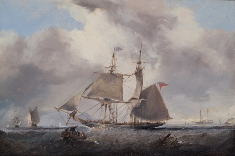 Seascape with merchant vessel and other craft, off shore, waiting for the pilot