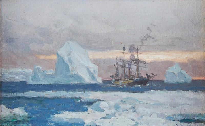 The corvette 'Uruguay' in the Antarctic passing icebergs