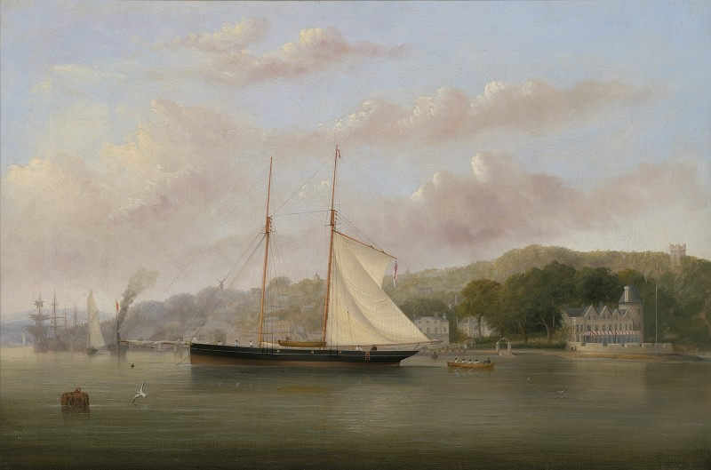 Arthur Wellington Fowles , Pantomime at anchor off the Squadron headquarters, with Colonel Markham approaching in a longboat, 1867