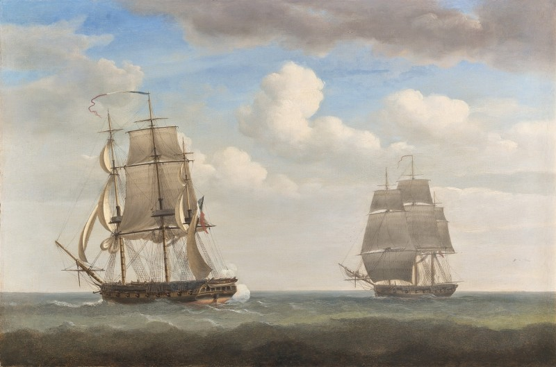 Nicholas Pocock , Captain Jeremiah Coghlan's ship the 'Renard' engaging the French privateer the 'General Ernouf' off Haiti, 1805; The destruction of the 'General Ernouf' by the 'Renard'