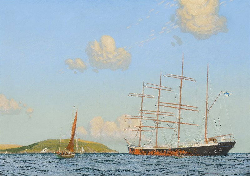 The artist in his yawl 'Wanderer' beside a barque off Falmouth