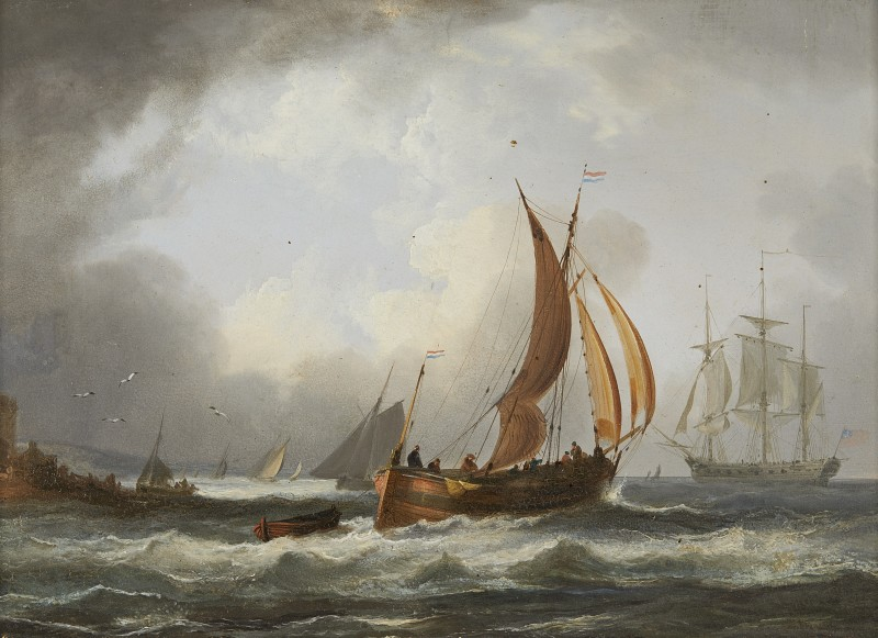A Dutch fisherman and an American merchantman off the Dutch coast