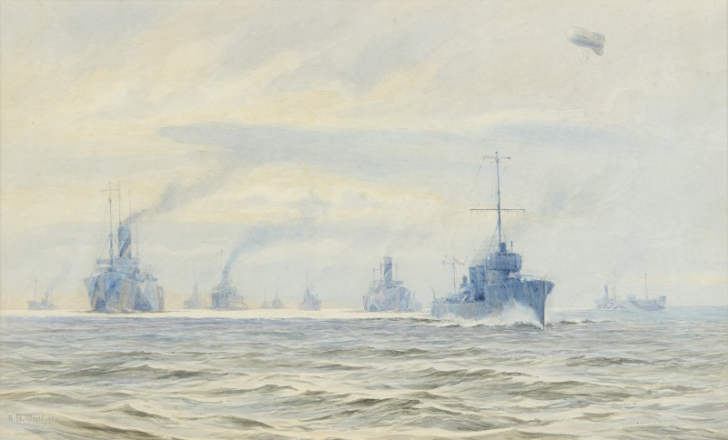 A dazzle-painted Great War merchant convoy at sea under destroyer escort