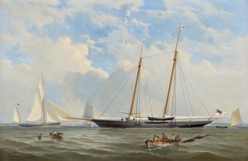 The Royal Yacht Squadron Viking at anchor off Cowes; the Royal Yacht Squadron Viking in full sail off Needles