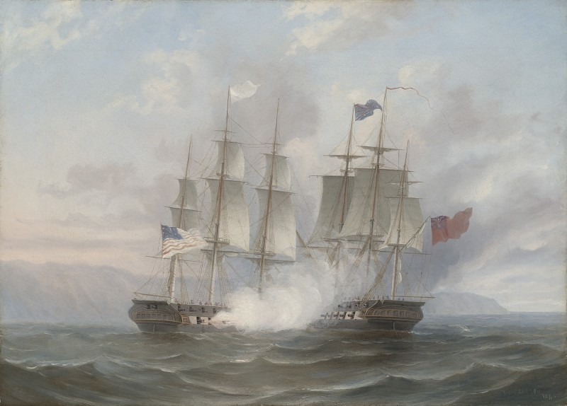 The opening salvoes of the famous action between USS Chesapeake and HMS Shannon , 1st June 1813
