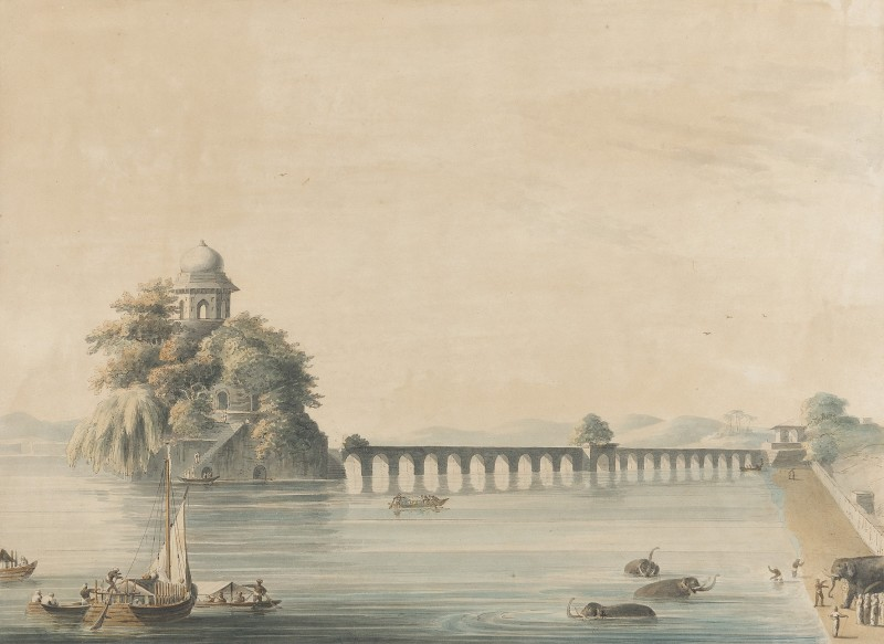 Elephants cooling before an Indian viaduct