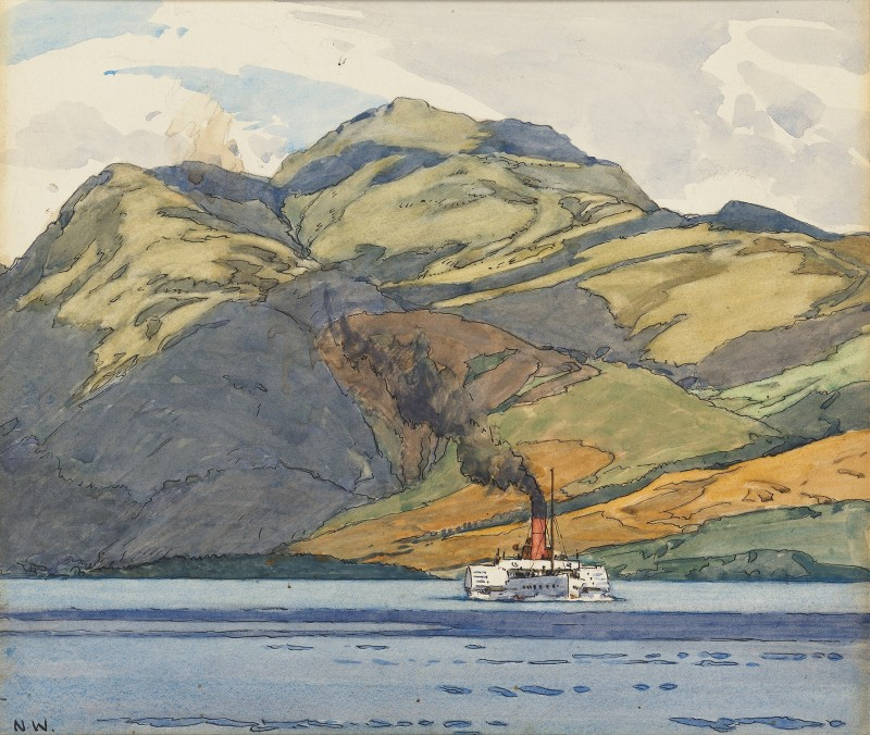 Norman Wilkinson , CBE, SMA, PRWS, RI, Pleasure steamer on Loch Lomond, Ben Lomond beyond