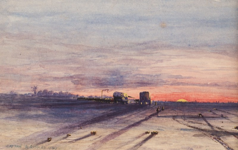 Capt. R. Riddley , 19th Century, Wagons at sunset, Arizona