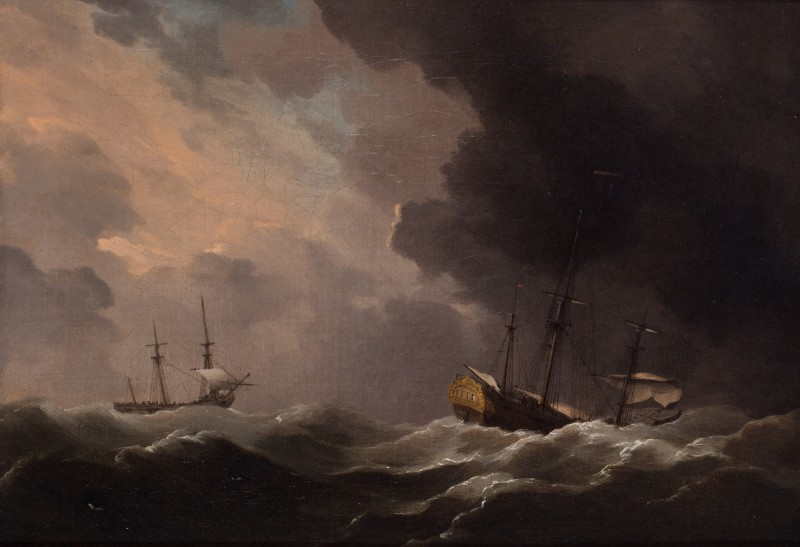 Two ships scudding a gale