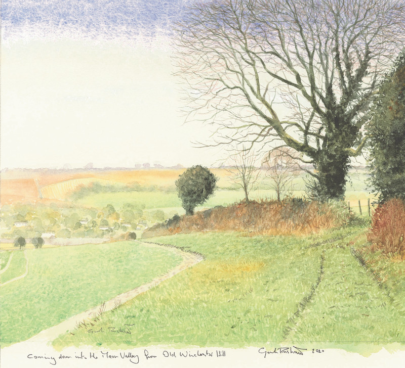 Gordon Rushmer , Coming down into the Meon Valley from Old Winchester Hill