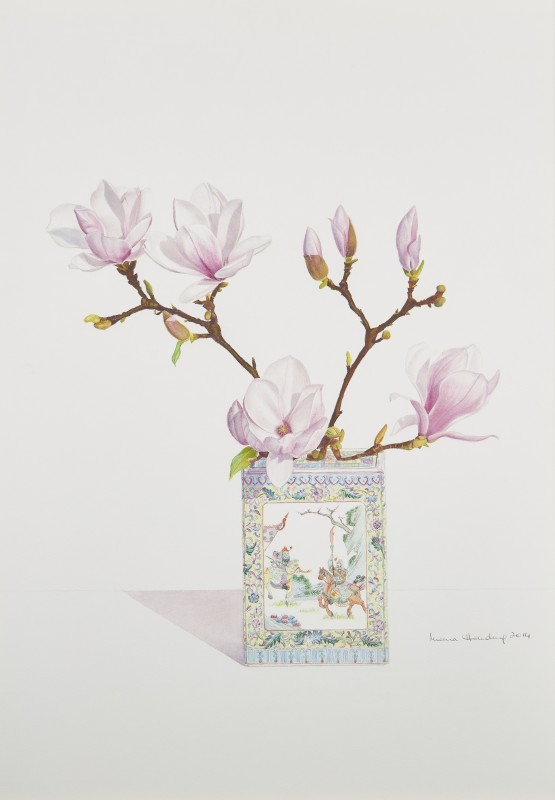 Pink and White Rustica Rubra Magnolias in a Famille Rose vase