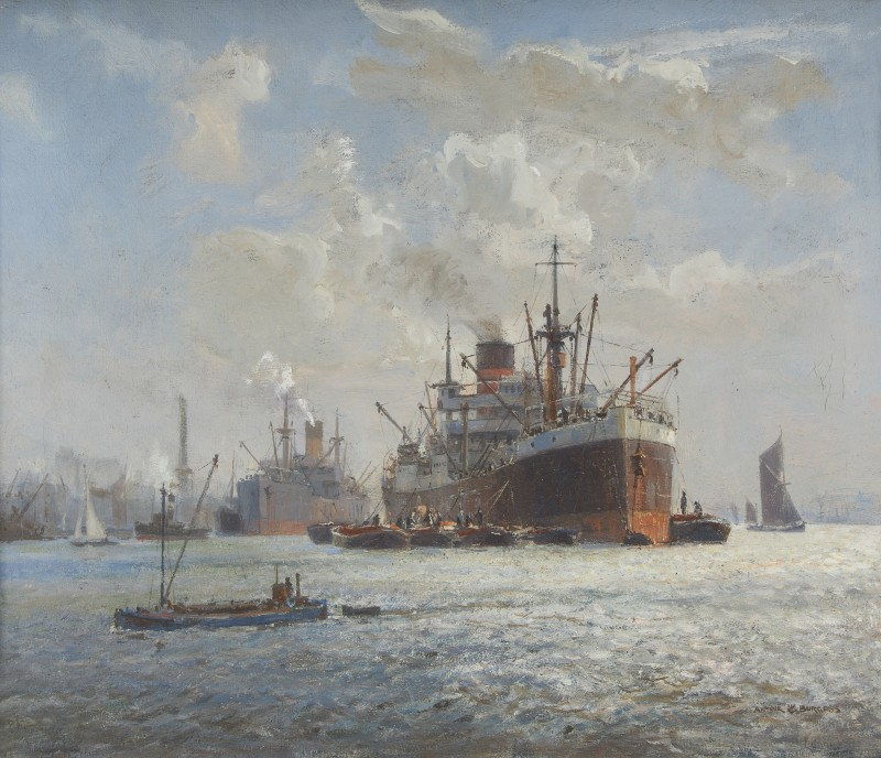 Arthur James Wetherall Burgess , RI, ROI, RBC, RSMA, Argosies at Woolwich Reach