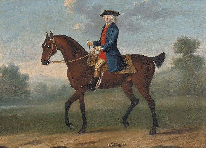 Attributed to Thomas Spencer , Equestrian portrait of William, 2nd Duke of Portland (1708−1762) in a landscape