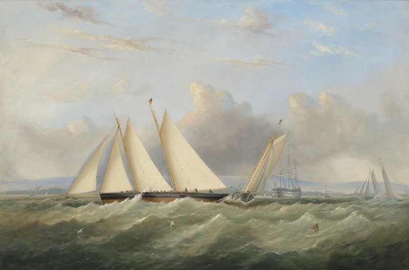 Arthur Wellington Fowles , Colonel Markham's new schooner Pantomime outrunning Egeria, with Shark astern, in the Squadron's Queen's Cup Race of 1866