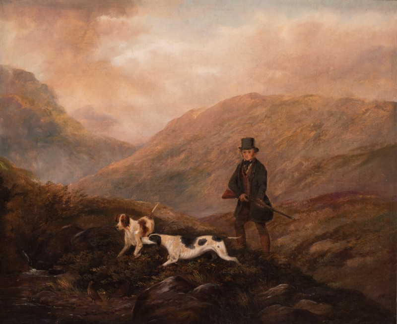 Sportsman and pointers in the Highlands