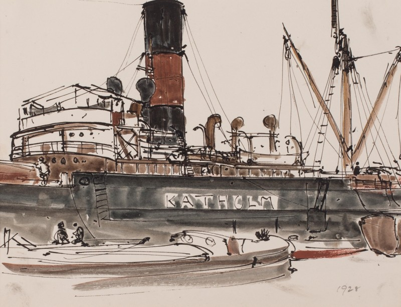 Study of ship Katholm in dock