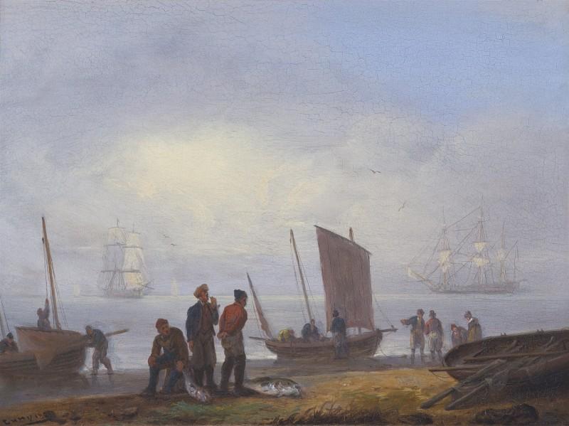 Fishermen unloading their catch on a shore, men-of-war beyond