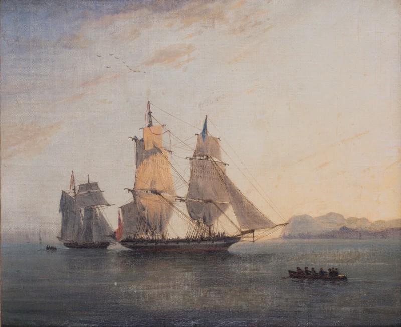Royal Navy Brig becalmed off the West coast of Africa