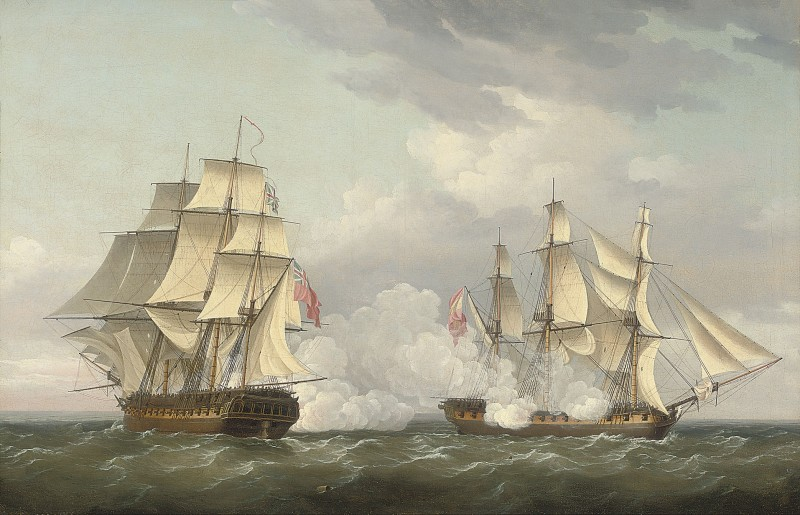 The capture of the Spanish frigate Mahonesa off Cartagena by His Majesty's frigate Terpsichore, 13th October 1796: the opening salvoes of the action