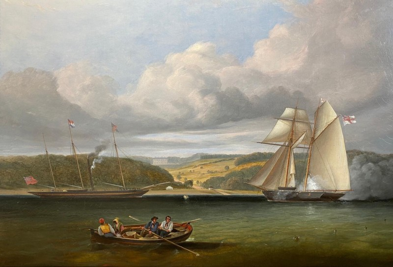 The Royal Yacht visiting Osborne House, Isle of Wight soon after Queen Victoria purchased the property