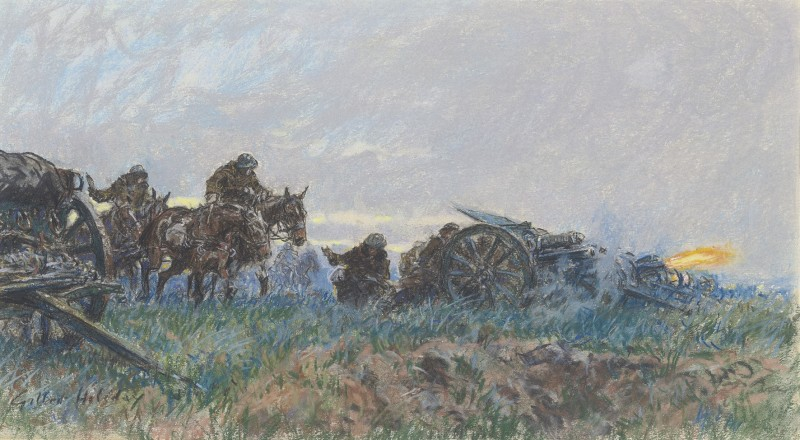 Firing the field guns on the Western Front