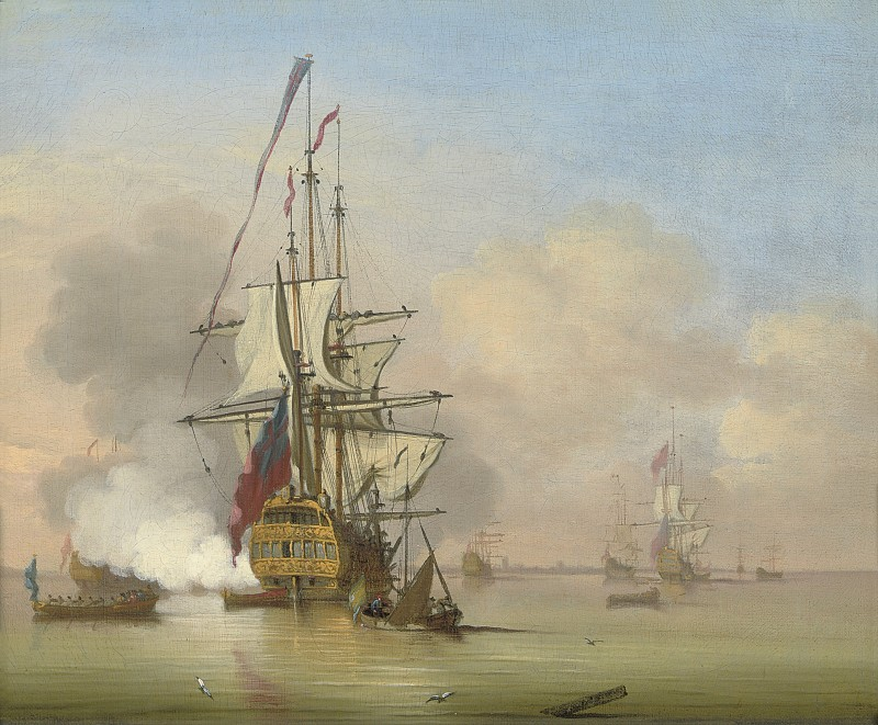 The fleet at anchor at the Nore, the flagship announcing her intention to sail