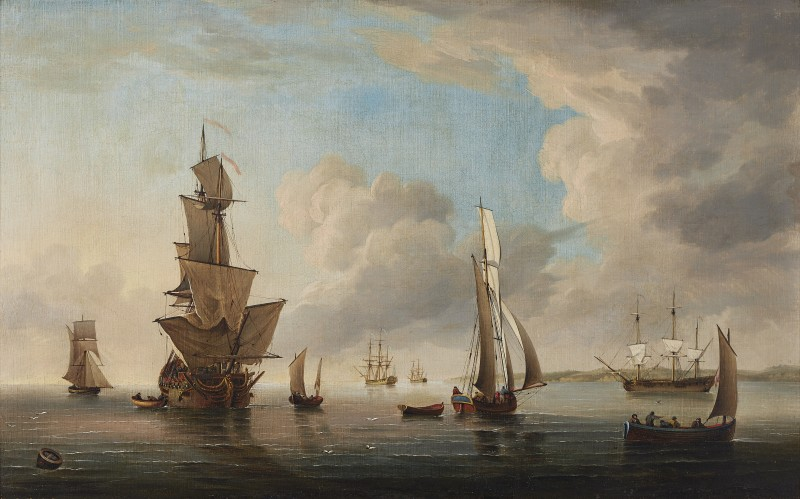 Charles Brooking , Man O'War with vessels in the Thames estuary