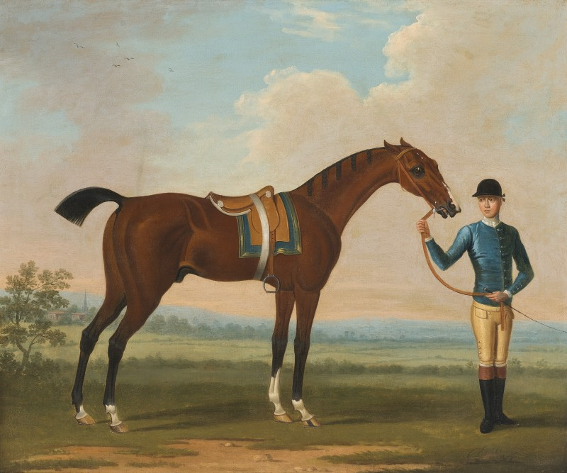 The Duke of Devonshire's Flying Childers held by a jockey