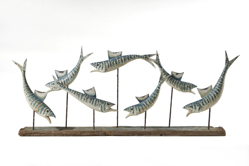 Seven blue and white fish