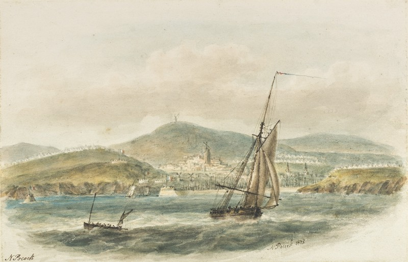 Boulogne Harbour, Napoleon's army to invade Britain encamped in the hills beyond, 1804