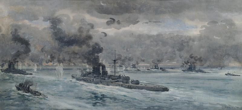 The Battle of Jutland; the height of the action in the early evening of 31st May, 1916