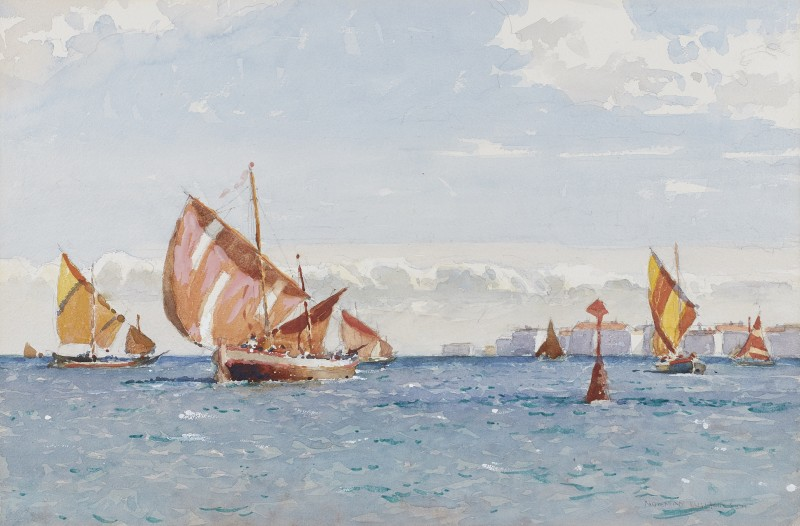 Bragozzo fishing boats in the Venetian lagoon