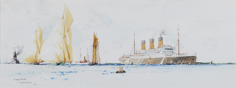Cowes Roads: RMS Berengaria amidst J-class cutters