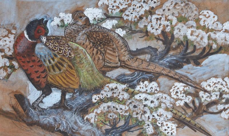 Pheasants in blossom