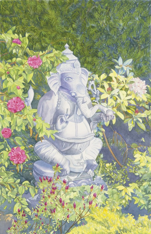 Lord Ganesh in our garden surrounded by camellias, azaleas and rhododendrons