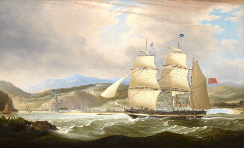 The barque `Woodmansterne' calling for a pilot off Port Royal, Jamaica, upon her arrival after her maiden voyage