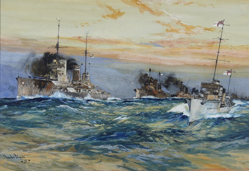 Charles Edward Dixon , Ships of the German High Seas Fleet under escort to Scapa, Scotland, late 1918