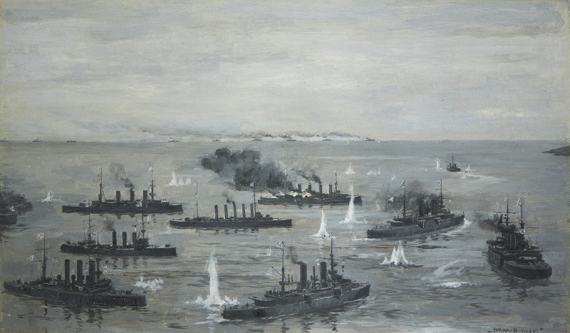Norman Wilkinson , CBE, SMA, PRWS, RI, Fleet Action at Port Arthur, 9th February 1904