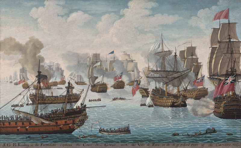 S.G.B. Rodney in the Formidable captures the Count de Grasse with the Ville de Paris on the 12th April 1782 off the Caribbean