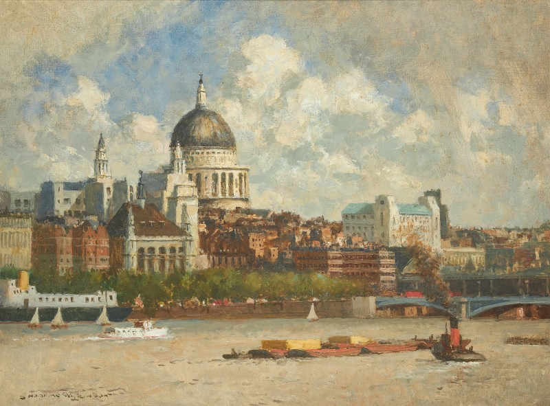 Norman Wilkinson , CBE, SMA, PRWS, RI, St Paul's Cathedral, London from Bankside