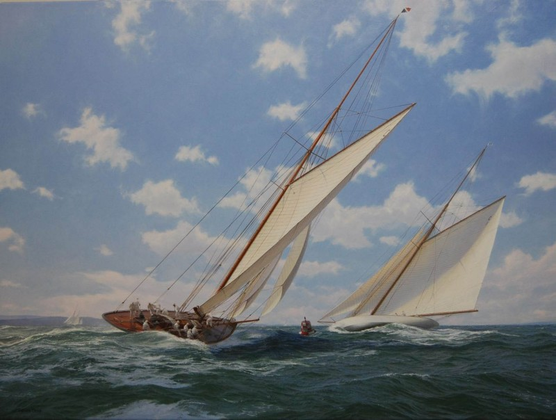 Stand by to harden up, Ocatvia and Maraquita racing in the Solent, 1912