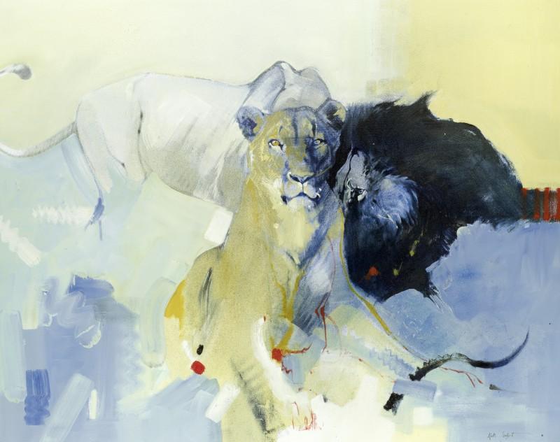 Three lions on a kill