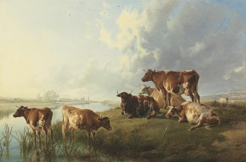 Thomas Sidney Cooper , RA, Cattle grazing by a river