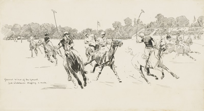 Lionel Edwards , RI, RCA, Lord Wodehouse stopping a rush: The 1921 Westchester Cup between USA and England at the Hurlingham Club, London., 1921