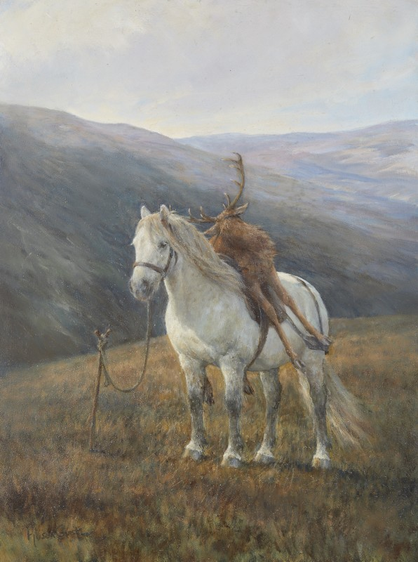 Grey pony with Stag